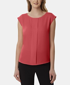 Tahari ASL Pleated Cap-Sleeve Top