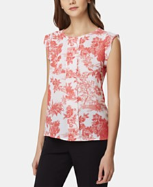 Tahari ASL Floral-Print Pleat-Front Top