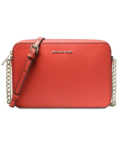 fffe7f029 ... Michael Kors Jet Set East West Crossgrain Leather Crossbody ...