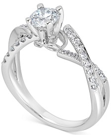 Diamond Twist Engagement Ring (1 ct. t.w.) in 14k White Gold