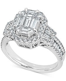 Diamond Baguette Cluster Engagement Ring (1-1/2 ct. t.w.) in 14k White Gold