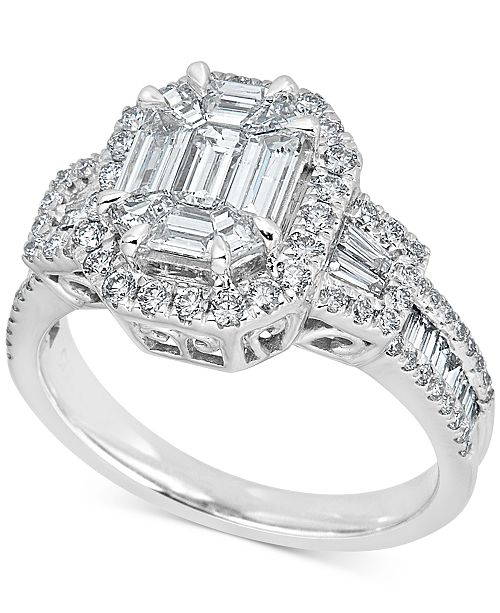 Macy's Diamond Baguette Cluster Engagement Ring (1-1/2 ct. t.w.) in 14k White Gold