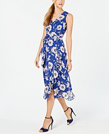 Petite Surplice Floral Wrap Midi Dress