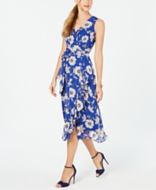 Jessica Howard Petite Surplice Floral Wrap Midi Dress