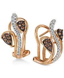 Le Vian Chocolatier @ Vanilla Diamond® & Chocolate Diamond® (1/4 ct. t.w.) Drop Earrings in 14k Rose Gold