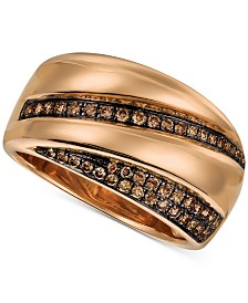 Le Vian Chocolatier® Chocolate Diamond® Statement Ring (1/4 ct. t.w.) in 14k Rose Gold