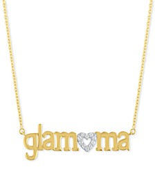 """Diamond """"Glamama"""" 18"""" Pendant Necklace (1/10 ct. t.w.) in 14k Gold Over Sterling Silver"""