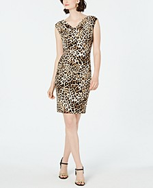 Petite Cowlneck Animal-Print Dress