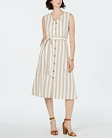 Petite Striped Button-Front Dress