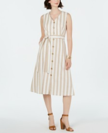 Jessica Howard Petite Striped Button-Front Dress