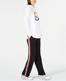 MICHAEL Michael Kors Rainbow Logo Hoodie & Rainbow-Striped Track Pants