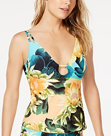 Lucky Brand Tropical Paradise Printed Tankini Top, Available in D-Cup