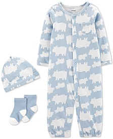 Baby Boys 3-Pc. Bear-Print Cotton Coverall, Hat & Socks Set