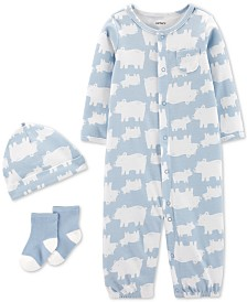 Carter's Baby Boys 3-Pc. Bear-Print Cotton Coverall, Hat & Socks Set