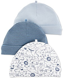 Baby Boys 3-Pk. Animal-Print Cotton Caps