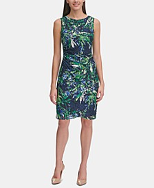 Printed Lace Ruched Dress
