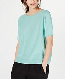 Organic Boat-Neck Elbow-Sleeve Sweater, Regular & Petite