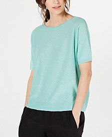 Eileen Fisher Organic Boat-Neck Elbow-Sleeve Sweater, Regular & Petite