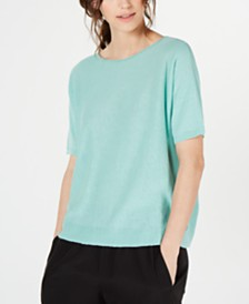 Eileen Fisher Organic Boat-Neck Elbow-Sleeve Sweater, Regular & Petite