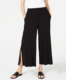 Eileen Fisher Wide-Leg Slit-Side Tencel Pants, Regular & Petite