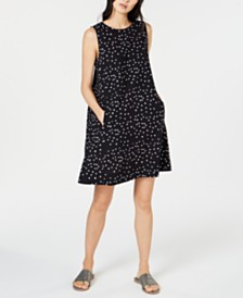 Eileen Fisher Sleeveless Printed Organic Cotton Shift Dress, Regular & Petite