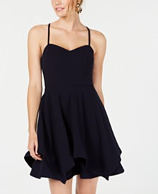 Sequin Hearts Juniors' Layered Fit & Flare Dress