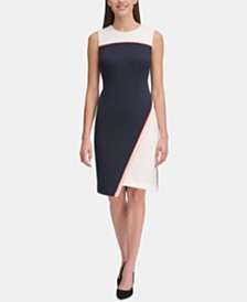 Tommy Hilfiger Asymmetrical-Hem Sheath Dress
