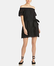 RACHEL Rachel Roy Ilenia Off-The-Shoulder Cotton Eyelet Dress