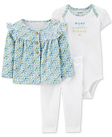 Baby Girls 3-Pc. Printed Ruffle Cardigan, Bodysuit & Pants Set
