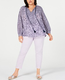 MICHAEL Michael Kors Plus Size Printed Top & Ankle Pants
