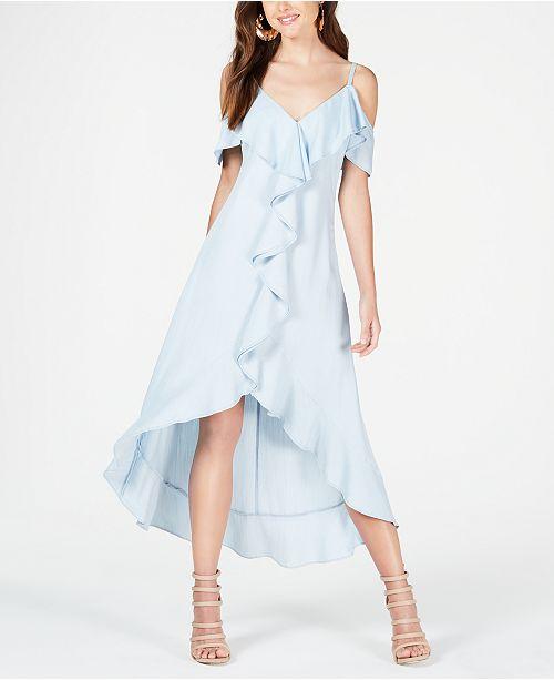 GUESS Ruffled Cold-Shoulder Dress