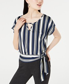BCX Juniors' Striped Tie-Front Top
