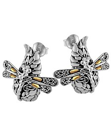 Sweet Dragonfly Green Earth Sterling Silver Earrings Embellished by 18K Gold Accents on 4 Strips of Dragonfly's Wings