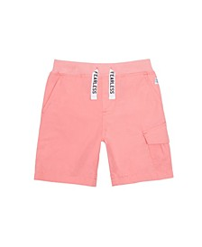 Little and Big Boys Poplin Cargo Short with Printed Drawstrings
