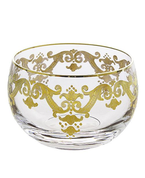 Classic Touch Small Glass Bowl With 24K Gold Artwork