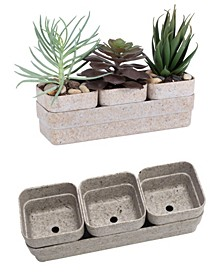 Rectangle Eco Succulent Flower Pot Planter with Saucer, 4 Pack