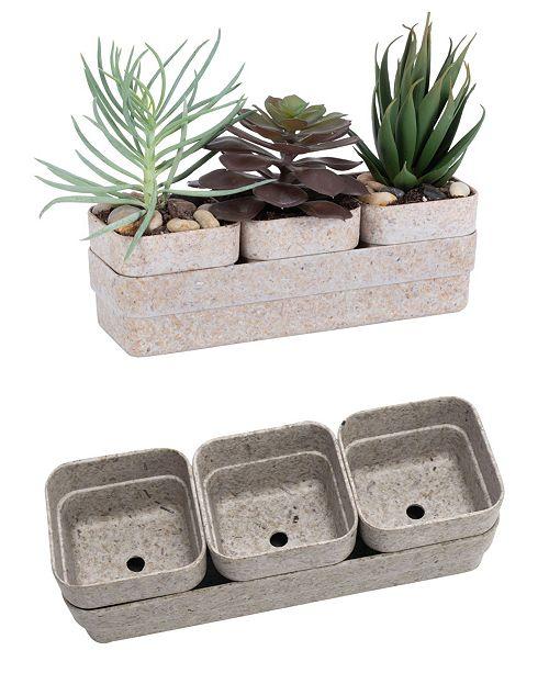 Bloem Rectangle Eco Succulent Flower Pot Planter with Saucer, 4 Pack