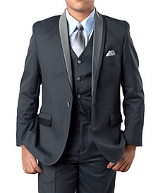 Solid Satin Shawl Collar 1 Button Vested Boys Suit 5 Piece