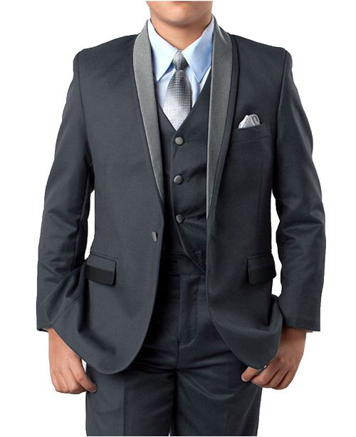 Tazio Solid Satin Shawl Collar 1 Button Vested Boys Suit 5 Piece