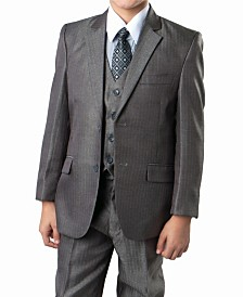 Tone On Tone Dark 2 Button Front Closure Boys Suit, 5 Piece