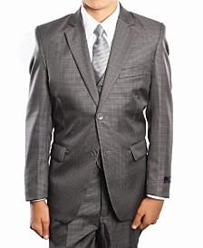 Glen Plaid 2 Button Front Closure Boys Suit, 5 Piece