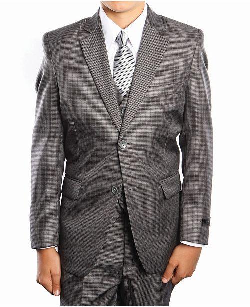 Tazio Glen Plaid 2 Button Front Closure Boys Suit, 5 Piece