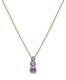 "Eliot Danori Cubic Zirconia Graduated Pendant Necklace, 16"" + 1"" extender, Created for Macy's"