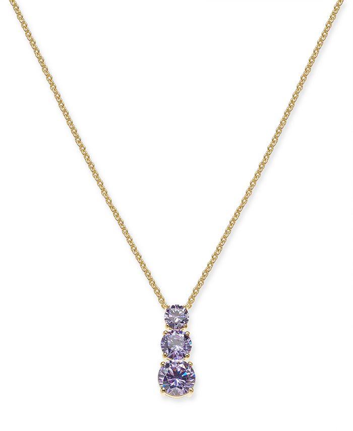 "Eliot Danori - Cubic Zirconia Graduated Pendant Necklace, 16"" + 1"" extender"