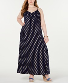 MICHAEL Michael Kors Plus Size Foil-Printed Maxi Dress