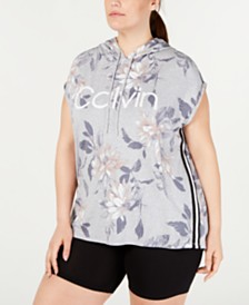 Calvin Klein Performance Plus Size Printed Sleeveless Hoodie