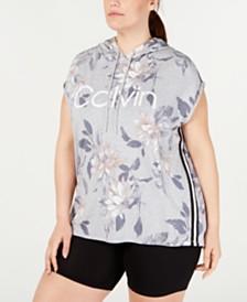 Calvin Klein Performance Plus Size Printed Sleeveless Hoodie