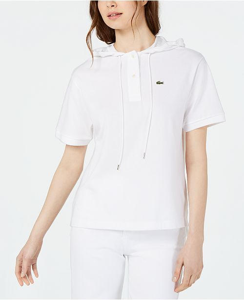 Lacoste Short-Sleeve Buttoned-Neck Hoodie
