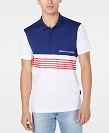 A|X Armani Exchange Men's Colorblocked Diagonal Stripe Logo-Print Polo Created For Macy's
