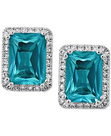 Paraiba Mystic Topaz (2 ct. t.w.) and Diamond (1/6 ct. t.w.) Stud Earrings in 14k White Gold